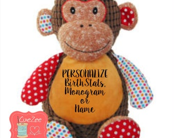 Personalized monkey etsy personalized monkey stuffed animal personalized baby gift birth announcement gift baby shower gift negle Image collections