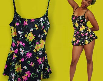 Vintage 80s/90s floral one piece/skirted swimsuit