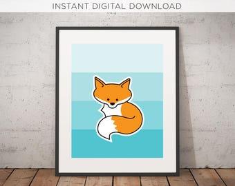 Fox Printable   Digital Download   Woodland   Nursery Art   Printable   Illustration   Instant   Kids room   Wall Decor   Woodland Critters