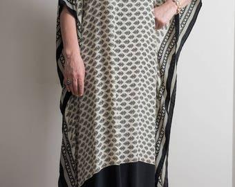 Black and white sheer caftan. Silk chiffon fabric.