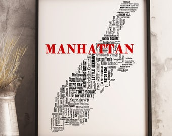 Manhattan Map Art, Manhattan Art Print, Manhattan Neighborhood Map, Manhattan Typography Art, Manhattan Wall Decor, Manhattan Moving Gift