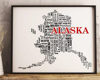 Alaska Map Art, Alaska Art Print, Alaska City Map, Alaska Typography Art, Alaska Wall Decor, Alaska Moving Gift