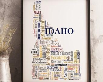 Idaho Map Art, Idaho Art Print, Idaho City Map, Idaho Typography Art, Idaho Poster Print, Idaho Word Cloud
