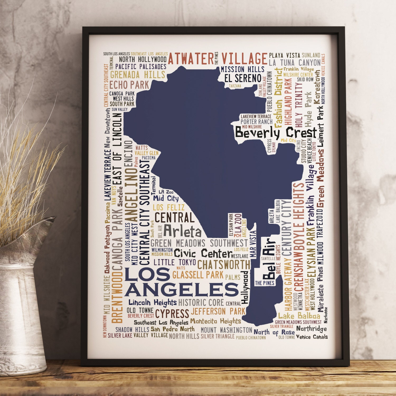 Los Angeles Typography Map Art Print Los Angeles Poster Los - Los angeles map porter ranch