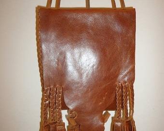 50% OFF Beautiful Cognac Leather Fringe Crossbody/Shoulder bag