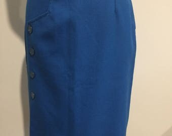 1960's MATCHMATES SKIRT - Blue with side buttons