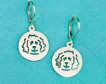 Doodle Disc Goldendoodle - Labradoodle Leverback Earrings in Sterling Silver - Part of the Clyde Fundraiser Collection