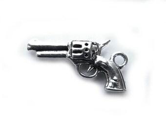 10 Silver Gun Charms Pistol Revolver