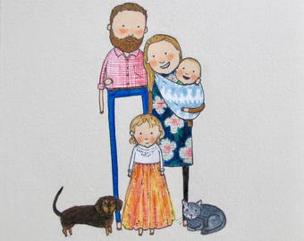 custom family portrait | hand drawn, quirky, thoughtful gift. Baby shower gift. Nursery art. Best friend. New baby. New parents, birthday