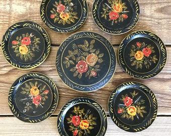 Vintage Black Tole Painted Coaster Set in Box