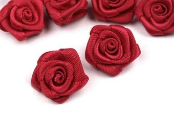 10 small pink flower red bordeaux satin 15 mm