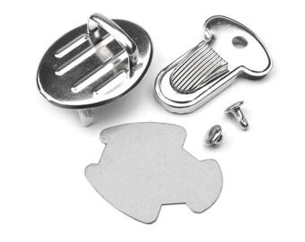 Portfolio ribbed silver metal lock system