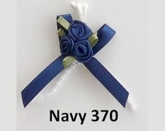 3 small Navy blue satin roses bouquet 3