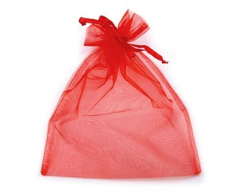 3 Red organza bag 20 x 26 cm packaging