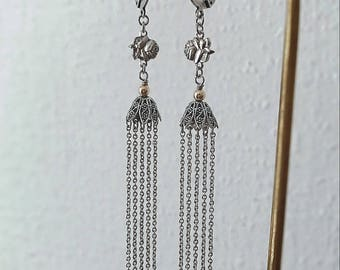 Pink Silver earrings of Saint Therese and fine chain