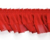 "2 Layers Ruffled Pleated Lace Trim by 2-yards, 2-3/8"", Black, Dark Gray, Red, White, TR-10216"