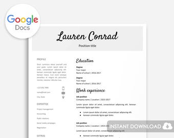 Resume Template for Google Docs | Printable Resume  | Editable | Instant Download | No Microsoft Word Required