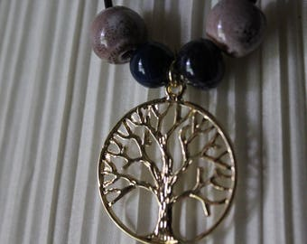 Leather and ceramic bead with the tree of life