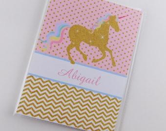 Unicorn Photo Album Pink Gold Fantasy 4x6 or 5x7 Picture Girl Baby Shower Gift Grandmas Brag Book Personalized with Name Custom Birthday 849
