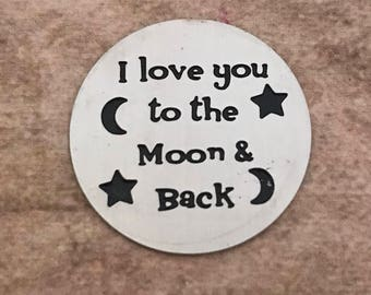 I love you to the moon and back floating locket plate