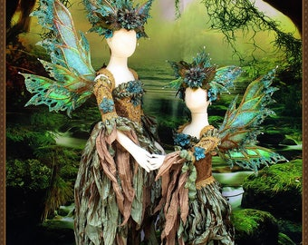 Children's Fairy Wings/Fairy Dress**RTS**Teal/Bronze/Gold**9-10 Yrs. Old**FREE SHIPPING**Costume/Photography/Halloween