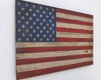 Rustic Wooden American Flag, 20 X 30 inches. Made from recycled fencing. Free Shipping D