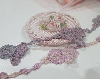 1 Yard- Embroidered Applique Lace Trim/ NBDL153- Flowering Applique Lace/