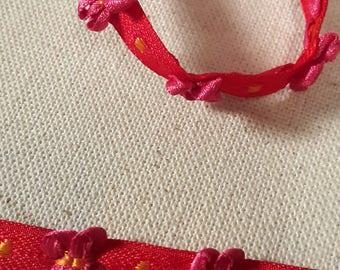 stripe blue bows 09 mm organza Ribbon