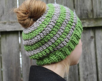 RTS Messy Bun Hat, Grey and Green Ponytail Beanie, Ready to Ship, Gray Green Handmade Crochet Messy Bun Beanie, Knit Pony tail Hat