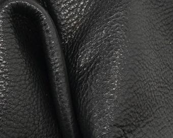 "Mountain Coal Black Leather New Zealand Deer Hide 12"" x 12"" Pre-cut 3-4 ounces -16 DE-66126 (Sec. 5,Shelf 3,B)"