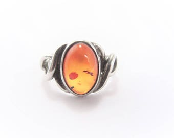 Vintage Sterling Amber Solitaire Ring Size 7