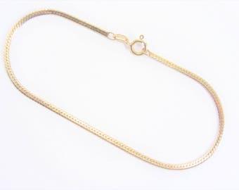 Vintage 14K GF Herringbone Chain Bracelet