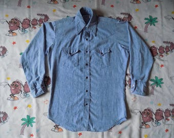 Vintage 70's Big Smith Sanforized Chambray Pearl Snap Western Shirt, size Large