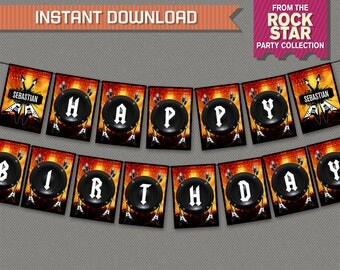 Rockstar Party Printable Birthday Banner with Spacers - Editable PDF file - Print at home - Roickstar Birthday - Rockstar Banner