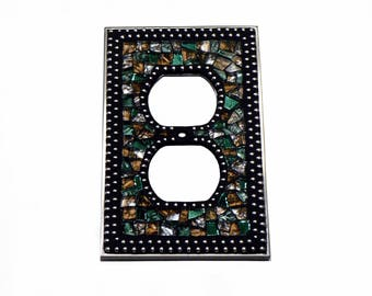 Mosaic Outlet Plate - Electrical Outlet Cover - Outlet Cover - Green Outlet Cover - Brown Outlet Cover - Light Cover - Silver Switch Plate