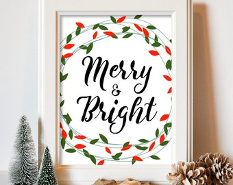 Merry and Bright Christmas Art Print Christmas Wall Art Christmas Printable Holiday Print Holiday Decor Digital Download