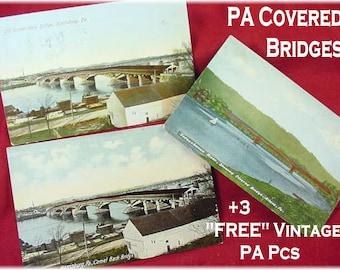 Covered Bridge Postcard Lot - Harrisburg Athens Pa - Old Camel Back  Showing Bridges + 3 FREE - Susquehanna River Pennsylvania FREE SHIPPING