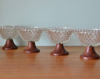 Vintage mid century teak cut glass dessert bowls