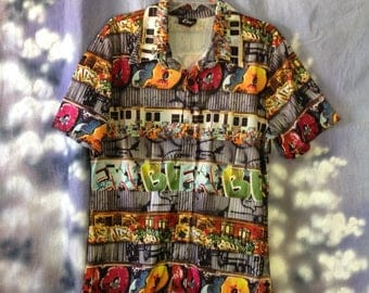 V121 Elee vintage mens button down 100% polyester print shirt short sleeve