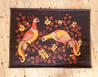 Vintage Swedish Scandinavian 70s mid century wall hanging Peacock decor