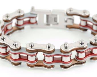 Men's Stainless Steel Silver Grey Red Bike Chain Bracelet US Seller