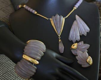 Spectacular Vintage Napier Satin Acrylic Lilac Parure