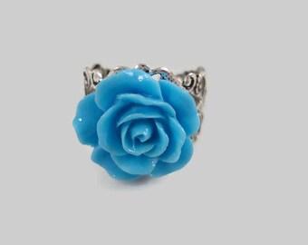 Blue Rose Ring Adjustable Silver Filigree