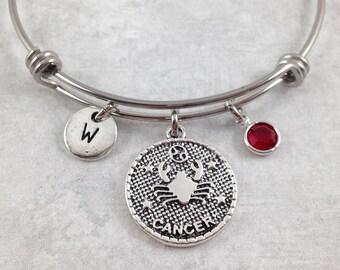 Cancer Bracelet, Zodiac Bracelet, Star Sign Bangle, Zodiac Jewelry, Astrology Jewelry, Personalized Bangle