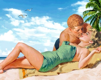 Marilyn Monroe & President Kennedy Together JFK Norma Jean Beach Passion Poster Art Print 332