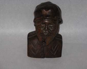 Vintage wood carved statue bust man with pipe signed Herve