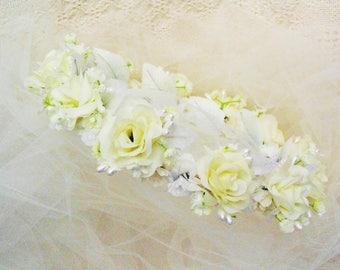Ivory White Roses Wedding Crown Bridal Rose Tiara Flower Headdress