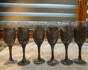 Wine glasses, hand decorated, set of 6