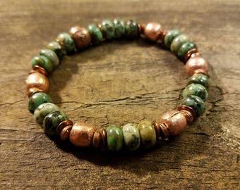 Boho Bracelet, Stretch Bracelet, Copper and Turquoise Bracelet, Stackable Bracelet