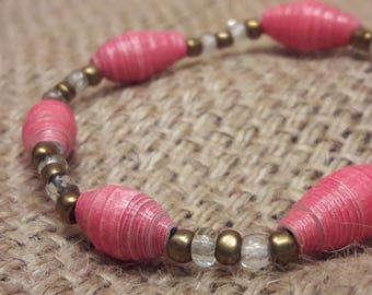 Pink Reclaimed Paper Bead Stretch Bracelet